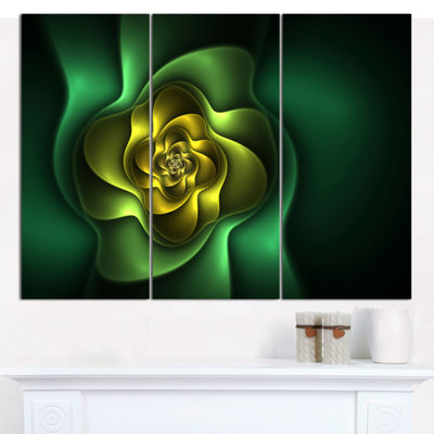 Designart Fractal Green Flower On Black Floral Canvas Art Print - 3 Panels