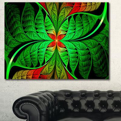 Designart Fractal Green Leaf Design Abstract Canvas Art Print - 3 Panels