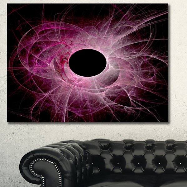 Designart Fractal Purple Circle On Black AbstractWall Art Canvas