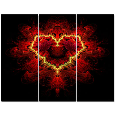 Designart Fractal Red Heart Texture Abstract WallArt Canvas - 3 Panels