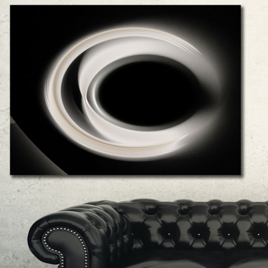 Designart Fractal White On Black Background Abstract Wall Art Canvas