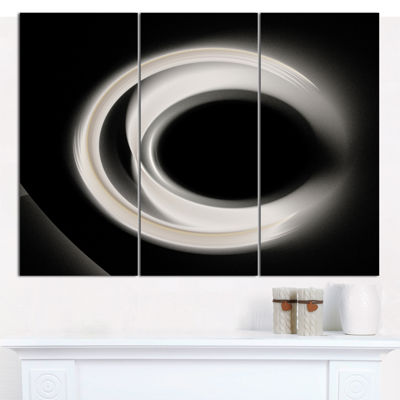 Designart Fractal White On Black Background Abstract Wall Art Canvas - 3 Panels