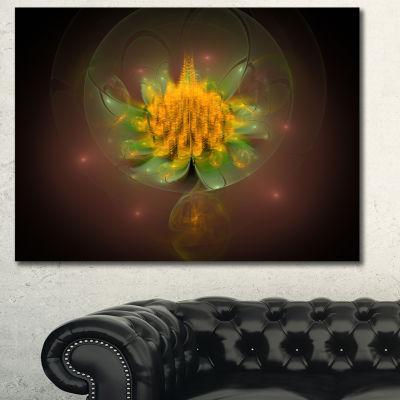 Designart Fractal Yellow Flower On Black Floral Canvas Art Print