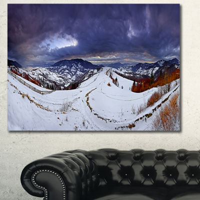 Designart Frosty Day In Mountains Panorama Landscape Canvas Art Print