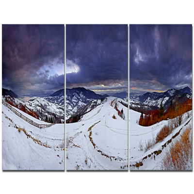 Designart Frosty Day In Mountains Panorama Landscape Canvas Art Print - 3 Panels