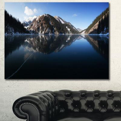 Designart Frozen Mountain Lake Pano Landscape Canvas Art Print