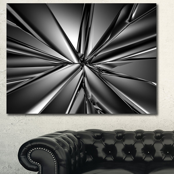 Designart Futuristic Crystal Background Abstract Canvas Art Print - 3 Panels