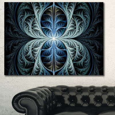 Designart Glowing Blue Fabulous Fractal Art Abstract Canvas Art Print
