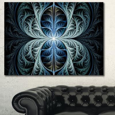 Designart Glowing Blue Fabulous Fractal Art Abstract Canvas Art Print - 3 Panels