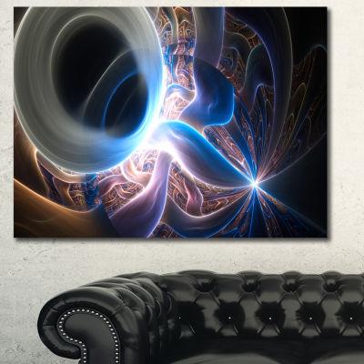 Designart Glowing Blue Silver Plasma Abstract WallArt Canvas - 3 Panels