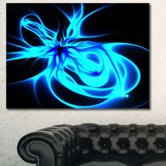 Designart Glowing Blue Symmetrical Flower AbstractCanvas Art Print