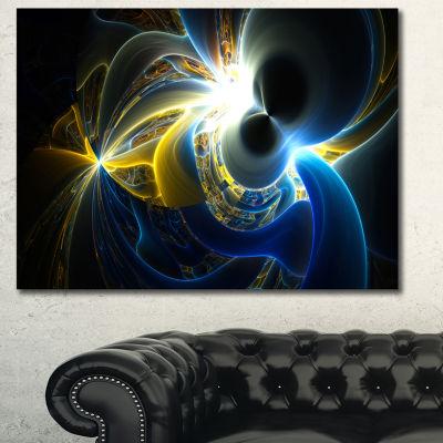 Designart Glowing Blue Yellow Plasma Abstract WallArt Canvas - 3 Panels