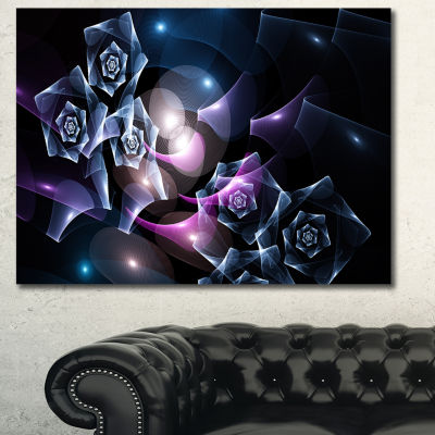 Designart Glowing Bouquet Of Beautiful Roses Abstract Canvas Art Print - 3 Panels