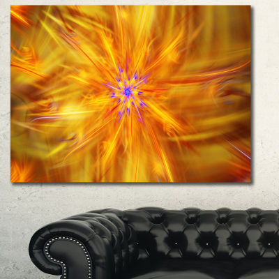 Designart Glowing Brightest Star Exotic Flower Abstract Canvas Art Print - 3 Panels