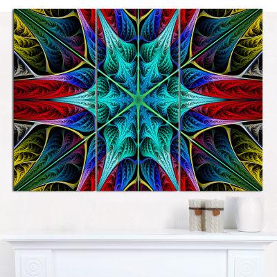 Designart Glowing Fractal Flower Layers Abstract Canvas Art Print - 3 Panels