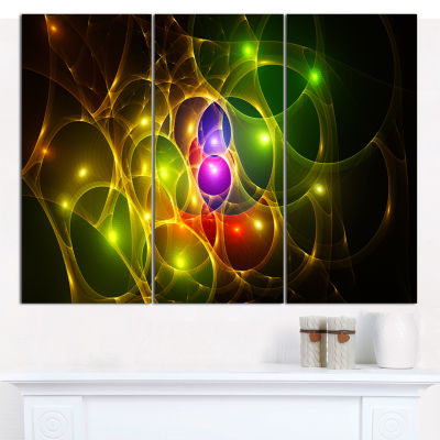 Designart Glowing Fractal Underwater World Abstract Wall Art Canvas - 3 Panels