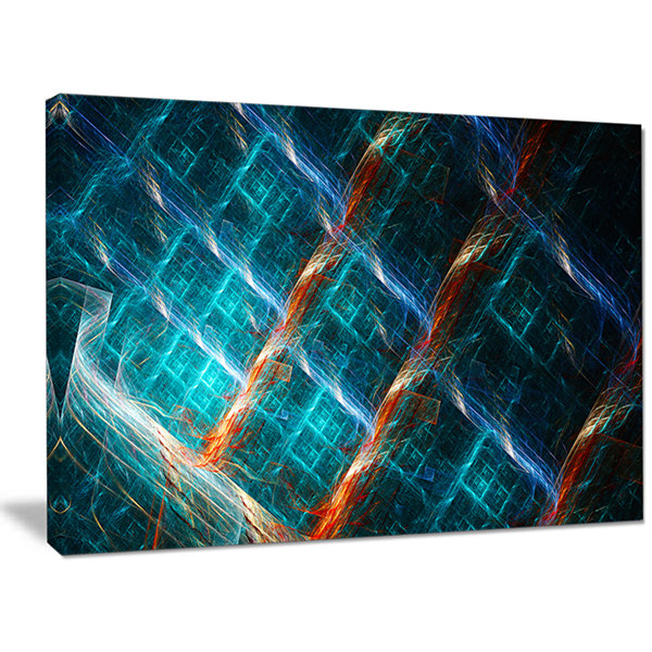 Designart Glowing Green Fractal Grill Abstract ArtOn Canvas