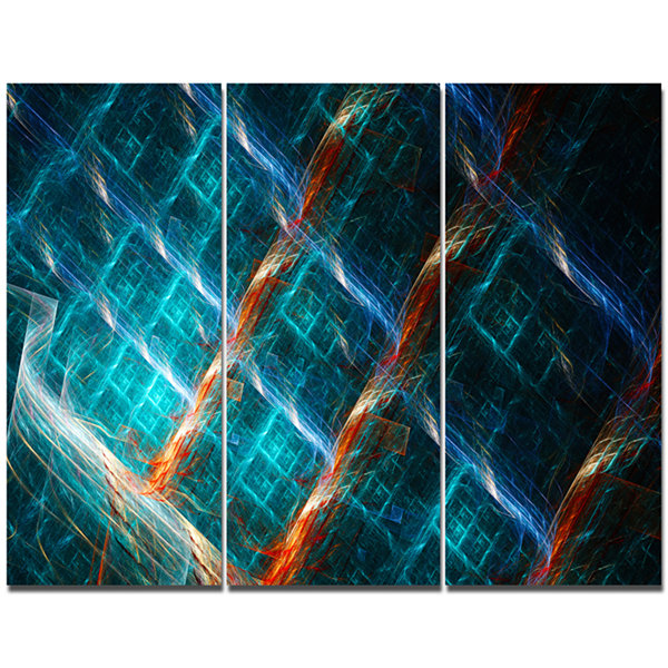 Designart Glowing Green Fractal Grill Abstract ArtOn Canvas - 3 Panels