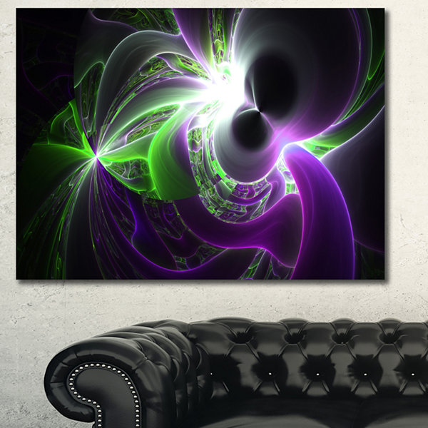 Designart Glowing Purple Green Plasma Abstract Wall Art Canvas - 3 Panels