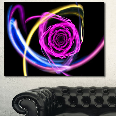 Designart Glowing Purple Neon Rose Floral Canvas Art Print - 3 Panels