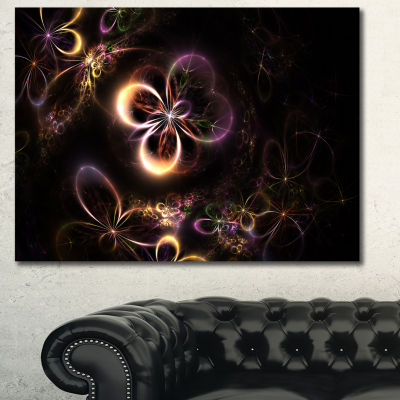 Designart Glowing Small Fractal Flowers Abstract Wall Art Canvas