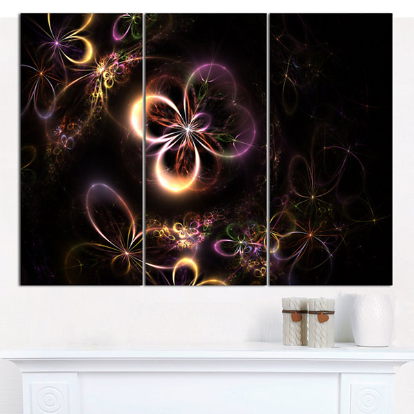 Designart Glowing Small Fractal Flowers Abstract Wall Art Canvas - 3 Panels