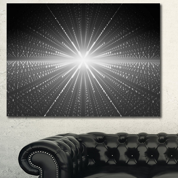 Designart Glowing Star In Cosmic Galaxy Abstract Wall Art Canvas - 3 Panels