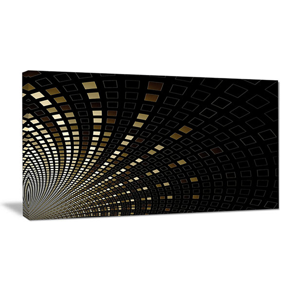 Designart Gold Square Pixel Mosaic On Black Abstract Art On Canvas