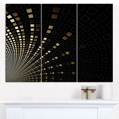 Designart Gold Square Pixel Mosaic On Black Abstract Art On Canvas - 3 Panels