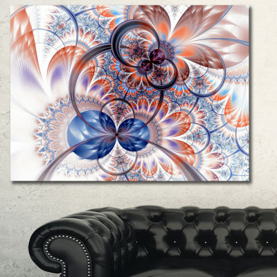 Designart Gold Symmetrical Fractal Flower AbstractCanvas Art Print - 3 Panels