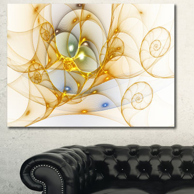 Designart Golden Colored Curly Spiral Abstract Wall Art Canvas