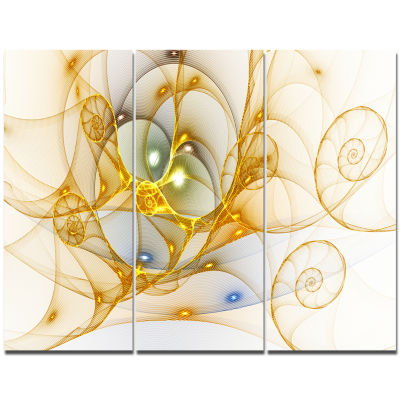 Designart Golden Colored Curly Spiral Abstract Wall Art Canvas - 3 Panels
