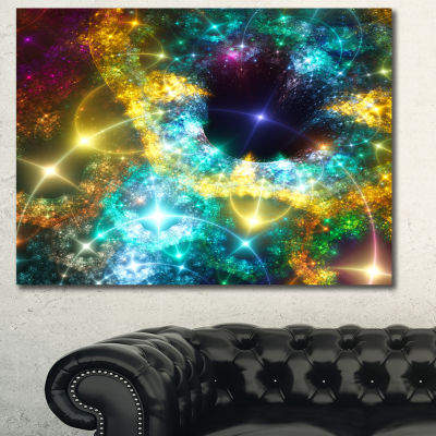 Designart Golden Cosmic Black Hole Abstract Art OnCanvas - 3 Panels
