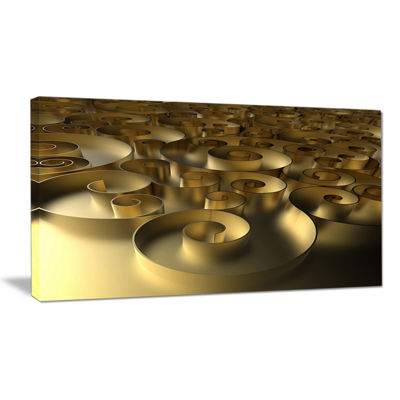 Designart Golden Curly Abstract 3D Design AbstractCanvas Art Print