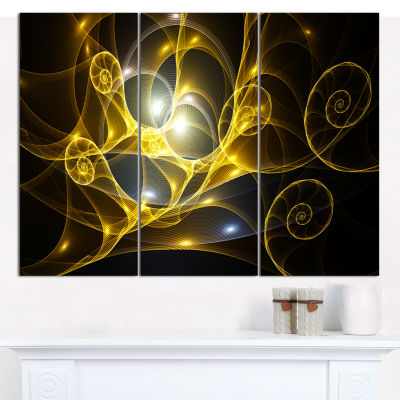 Designart Golden Curly Spiral On Black Abstract Wall Art Canvas - 3 Panels
