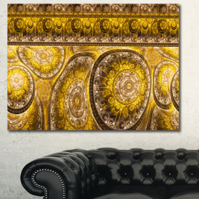 Designart Golden Extraterrestrial Life Cells Floral Canvas Art Print - 3 Panels