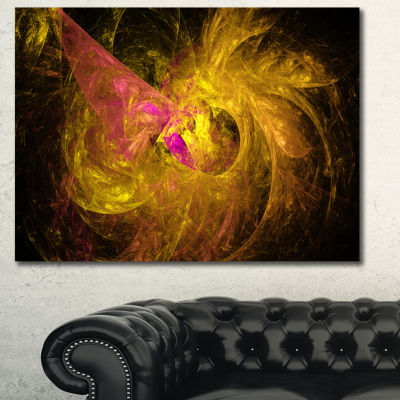 Designart Golden Fractal Abstract Illustration Abstract Canvas Art Print