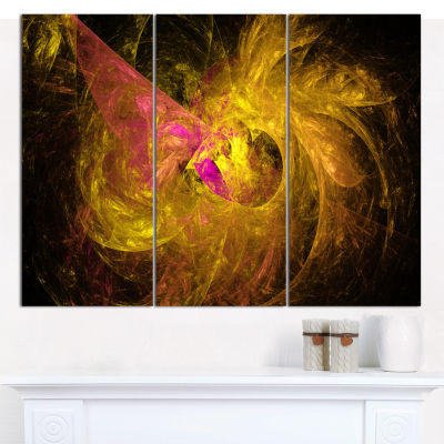 Designart Golden Fractal Abstract Illustration Abstract Canvas Art Print - 3 Panels