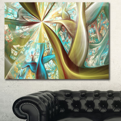 Designart Golden Fractal Exotic Plant Stems Abstract Canvas Art Print - 3 Panels