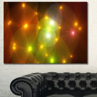 Designart Golden Fractal Lights In Fog Abstract Wall Art Canvas - 3 Panels