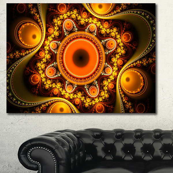 Designart Golden Fractal Pattern With Circles Abstract Canvas Art Print