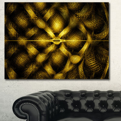 Designart Golden Fractal Watercolor Pattern Abstract Art On Canvas