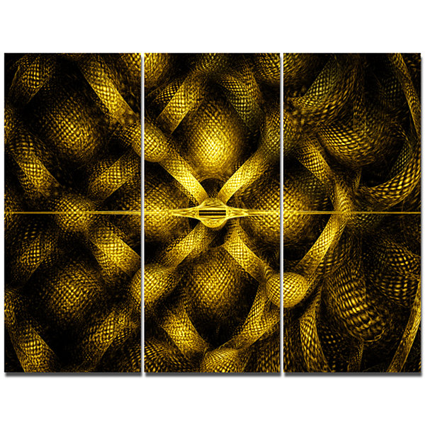 Designart Golden Fractal Watercolor Pattern Abstract Art On Canvas - 3 Panels