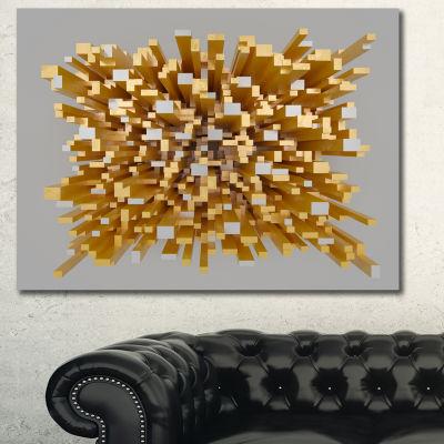 Designart Golden Fragments 3D Design Abstract Canvas Wall Art - 3 Panels