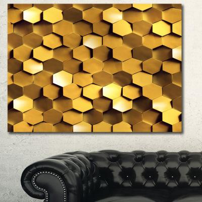 Designart Golden Honeycomb Wall Texture Abstract Canvas Art Print - 3 Panels