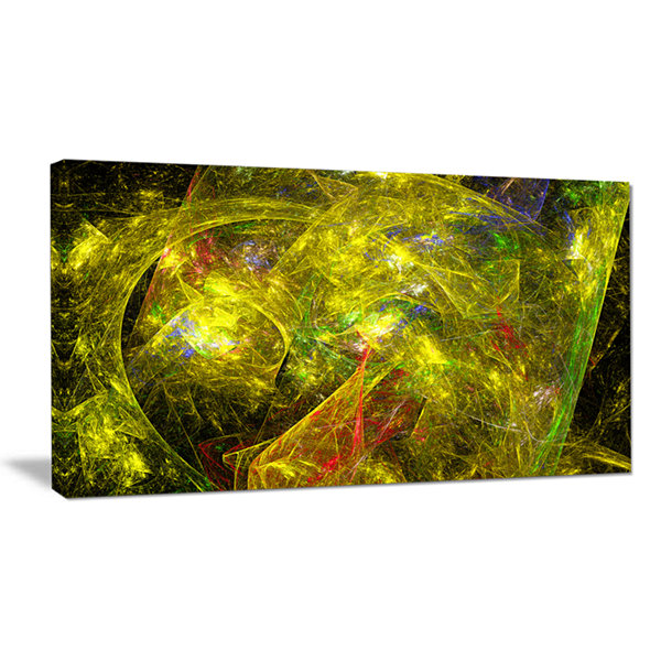 Designart Golden Mystic Psychedelic Texture Abstract Art On Canvas