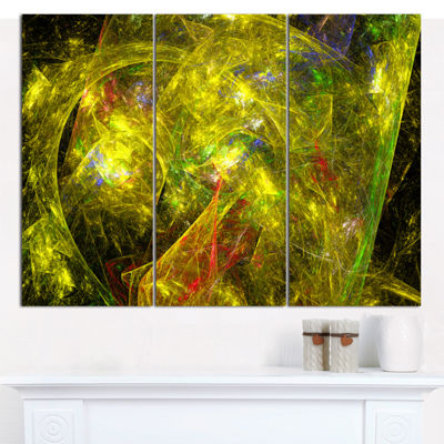 Designart Golden Mystic Psychedelic Texture Abstract Art On Canvas - 3 Panels