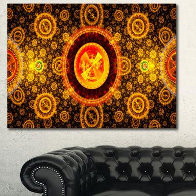 Designart Golden Psychedelic Relaxing Art AbstractCanvas Art Print