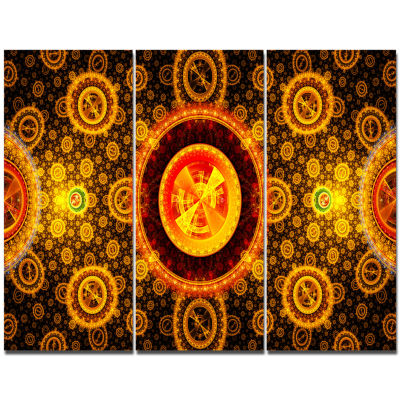 Designart Golden Psychedelic Relaxing Art AbstractCanvas Art Print - 3 Panels