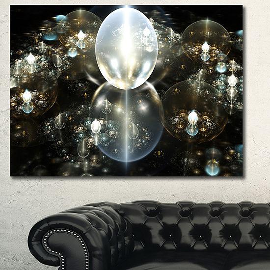 Designart Golden Water Drops On Mirror Abstract Canvas Art Print